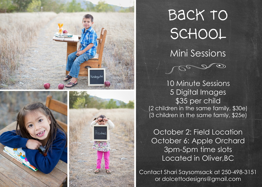 back to school mini sessions Oliver BC